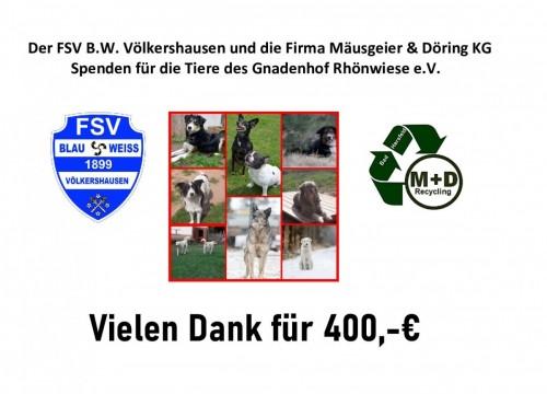 400,-€ Spende für die Tiere des  Gnadenhof Rhönwiese e.V.